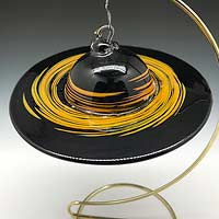 Hand Blown Glass Black Hole Ornament