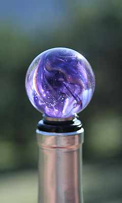 Purple Swirled Blown Glass Wine Stopper